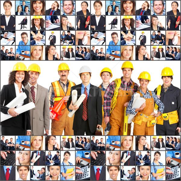 Photo stock: Travailleurs · personnes · grand · groupe · souriant · blanche · femmes