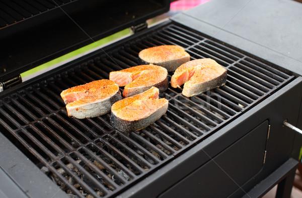 Lazac hal pörkölt barbecue grill főzés étel Stock fotó © Kurhan