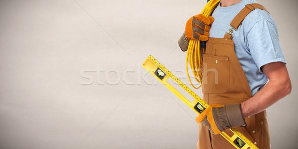 Foto stock: Eletricista · elétrico · cabo · profissional · mãos
