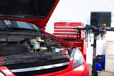 Foto stock: Auto · servicio · coche · abierto · reparación · tienda
