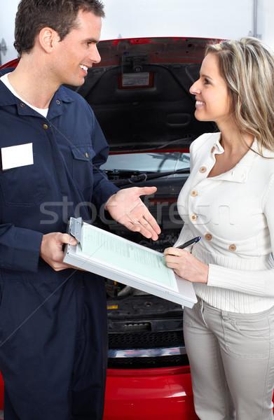Foto stock: Auto · tienda · guapo · mecánico · de · trabajo · reparación