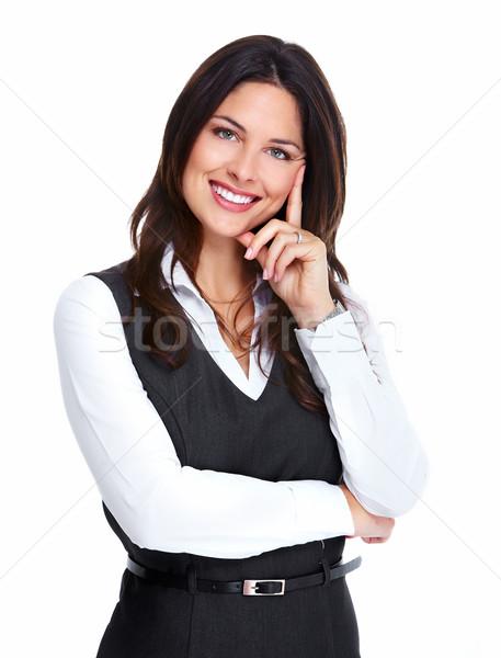 Foto stock: Belo · jovem · mulher · de · negócios · retrato · feliz · isolado