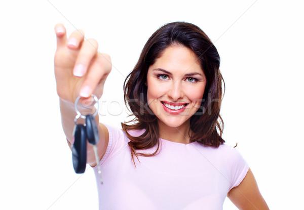 Kadın araba anahtarları yalıtılmış beyaz iş kız Stok fotoğraf © Kurhan