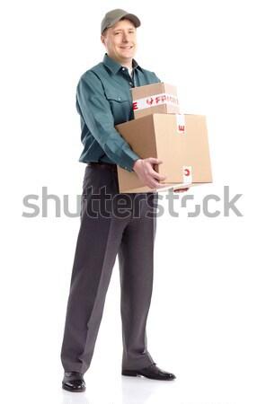 Livraison travailleur élégant boîte isolé blanche Photo stock © Kurhan