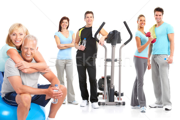 Gymnase fitness souriant personnes blanche Photo stock © Kurhan
