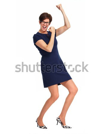 Stock fotó: Boldog · üzletasszony · rövid · hajviselet · tánc · izolált