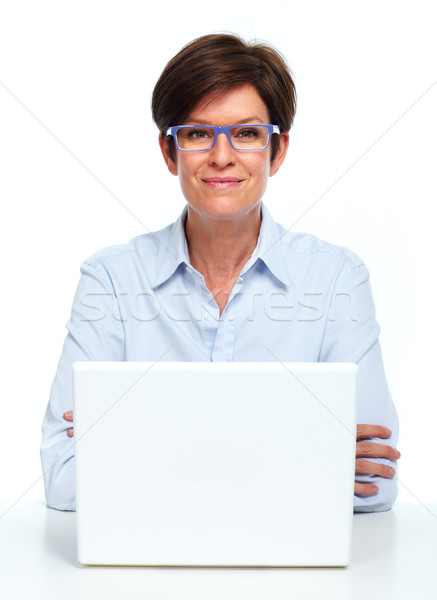 Business lady working with laptop. Stock photo © Kurhan