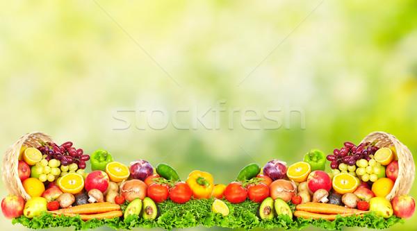 Foto stock: Frutas · legumes · verde · dieta · saudável · maçã · fruto