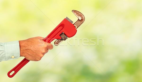 Foto stock: Mão · encanador · chave · inglesa · casa · construção