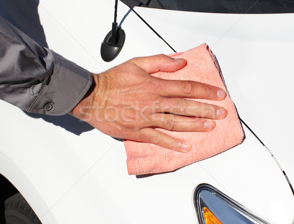 Microfiber cloth on the car. Stock photo © Kurhan