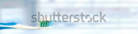 歯ブラシ 青 バナー 歯科 経口 ケア ストックフォト © Kurhan