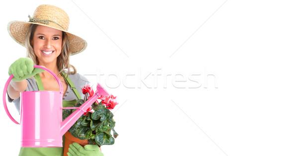 ガーデニング 女性 じょうろ 孤立した 白 笑顔 ストックフォト © Kurhan