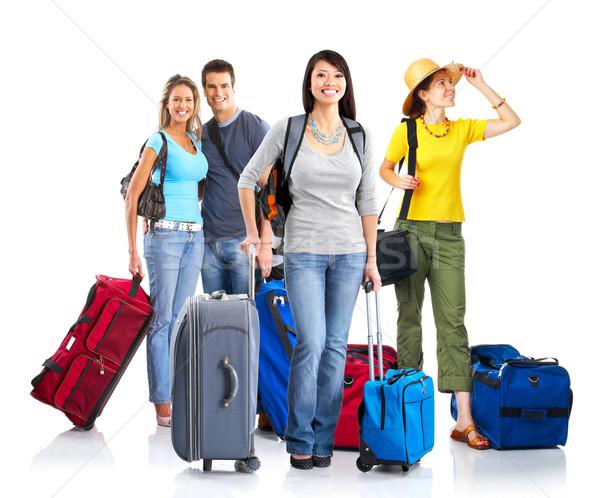 Stockfoto: Toeristen · gelukkig · jongeren · geïsoleerd · witte · familie