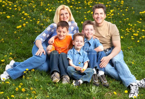 Familia feliz padre madre primavera naturaleza paisaje Foto stock © Kurhan