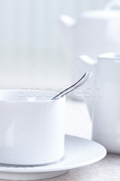Kitchen table, tea, cup Stock photo © Kurhan