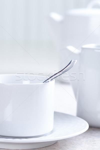 Mesa de cocina taza de té cocina mesa té taza Foto stock © Kurhan