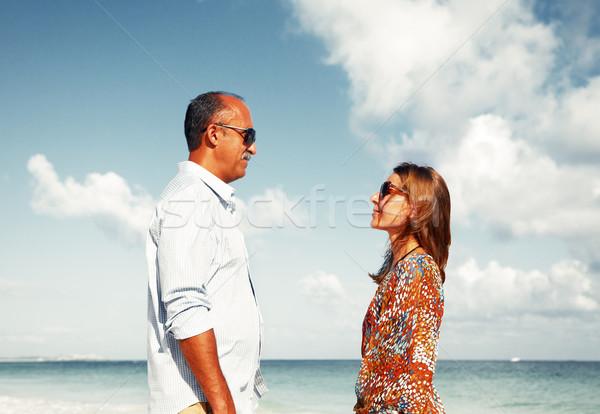 Happy couple on the beach Stock photo © Kurhan