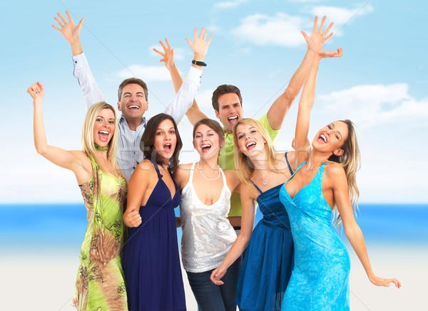 Grupo pessoas felizes dança juntos festa céu Foto stock © Kurhan