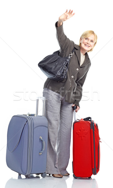 зрелый туристических женщину изолированный белый Сток-фото © Kurhan