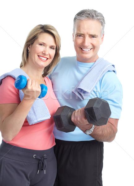 Stok fotoğraf: Spor · salonu · uygunluk · gülen · yaşlı · çift · dambıl
