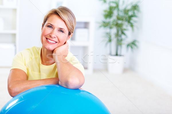 Idős nő jóga egészséges életmód ház sport Stock fotó © Kurhan