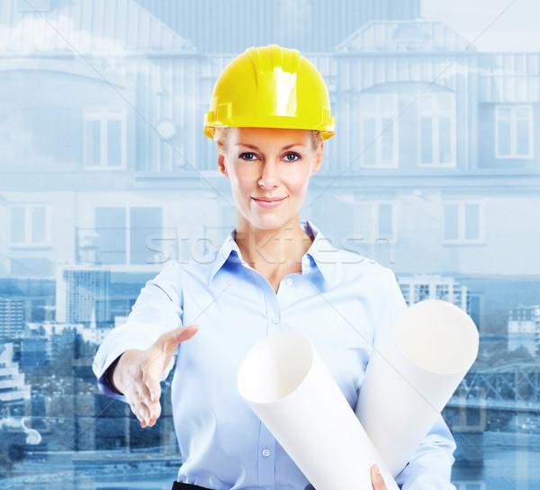 ストックフォト: 女性 · 建築 · 小さな · 美人 · エンジニア · 産業