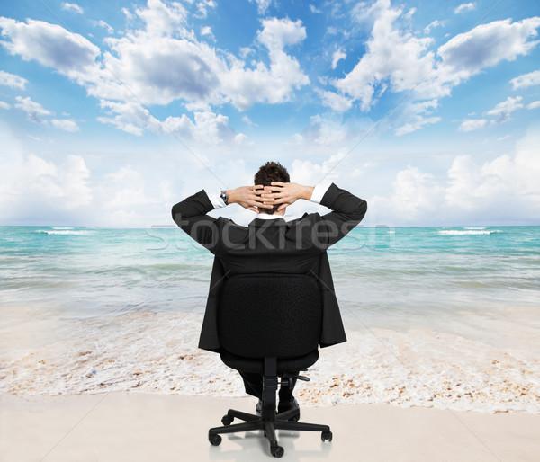 расслабляющая бизнесмен молодые пляж человека дизайна Сток-фото © Kurhan