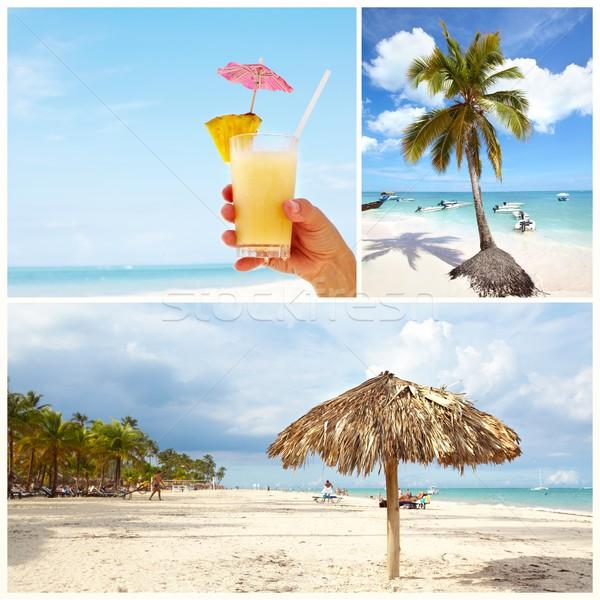 Exotisch caribbean strand collage mooie Stockfoto © Kurhan