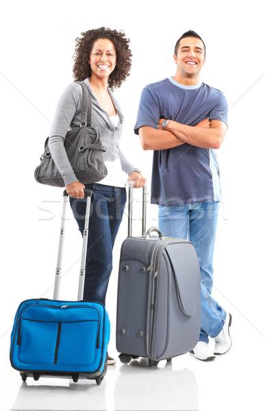 Foto stock: Turistas · feliz · sorridente · casal · branco · mulher