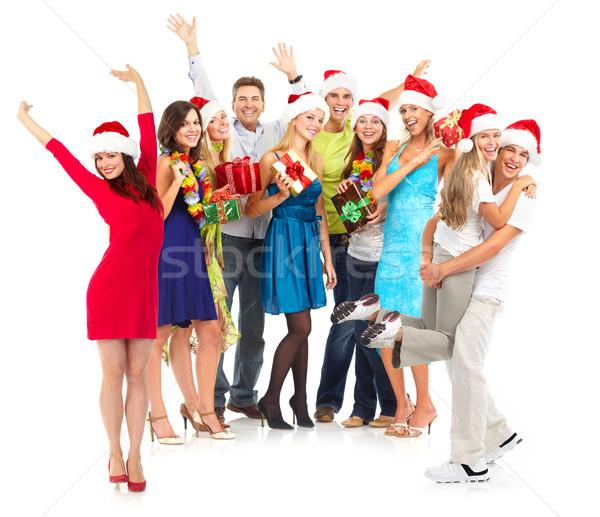 Boldog emberek boldog vicces emberek karácsony buli Stock fotó © Kurhan