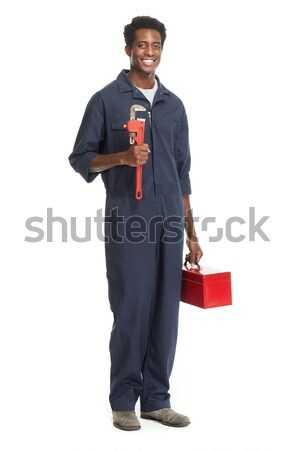 Stockfoto: Afro-amerikaanse · loodgieter · sleutel · geïsoleerd · witte · man