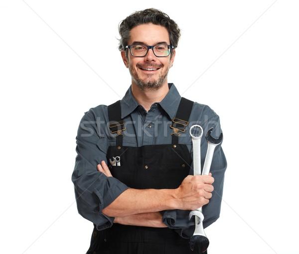 Auto Mechaniker Schraubenschlüssel isoliert weiß Mann Stock foto © Kurhan
