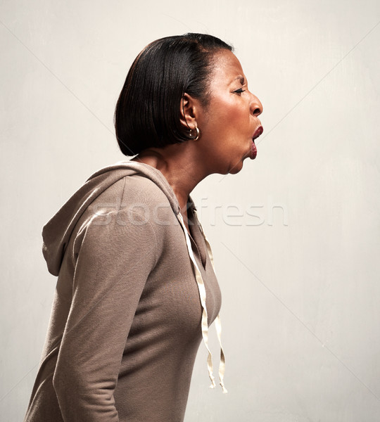 Angry screaming african american woman Stock photo © Kurhan
