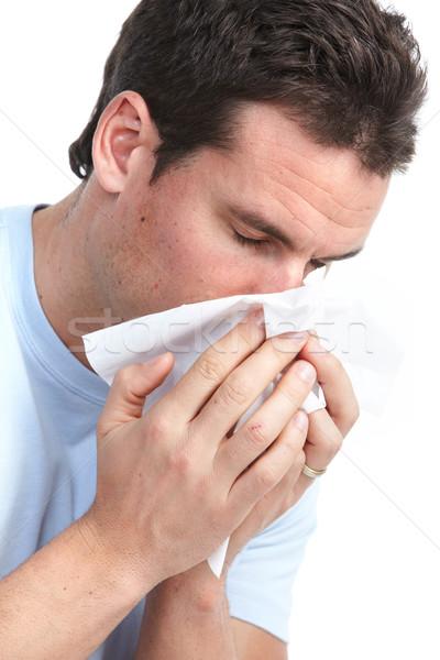 Gripe alergia moço isolado branco cara Foto stock © Kurhan