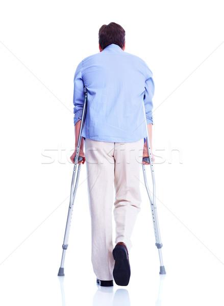 男 松葉杖 孤立した 白 医療 背景 ストックフォト © Kurhan