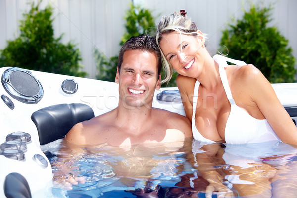 счастливым пару джакузи расслабляющая отпуск Сток-фото © Kurhan