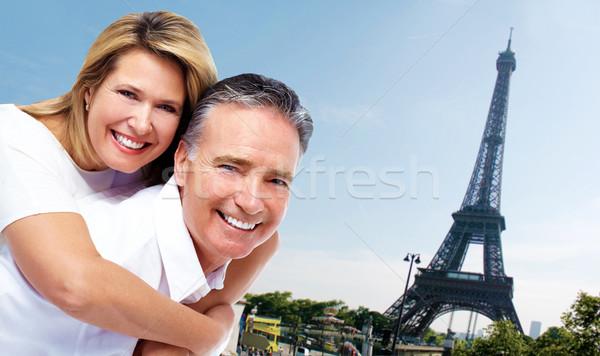 Eyfel Kulesi turizm aile sevmek Stok fotoğraf © Kurhan