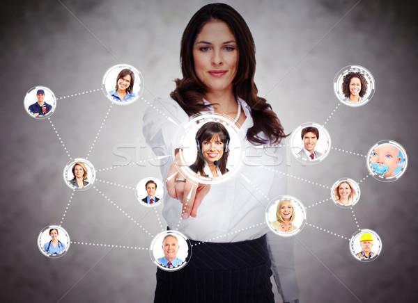 Social Media Netzwerk Frau anfassen Bildschirm Stock foto © Kurhan