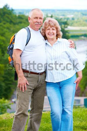 Idős pár boldog megnyugtató család mosoly Stock fotó © Kurhan