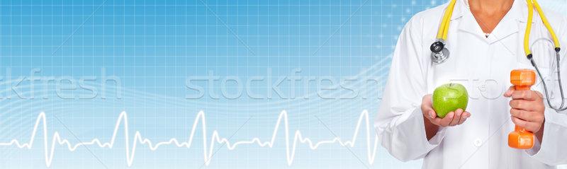 Stock fotó: Orvos · kezek · alma · súlyzó · diéta · sport