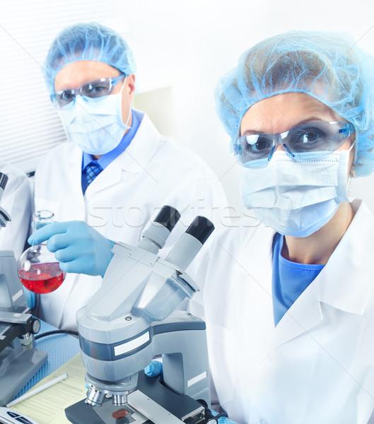 Foto stock: Laboratório · ciência · equipe · trabalhando · mulher · médico