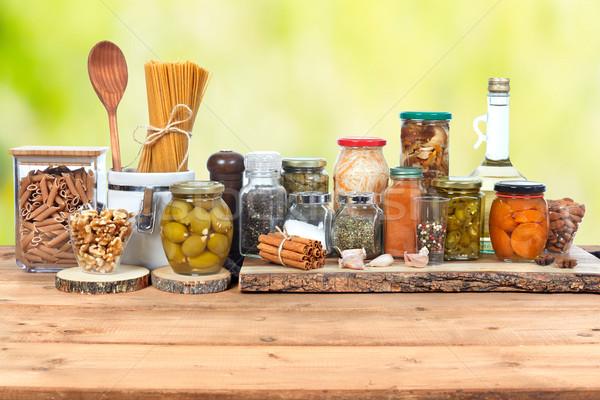 соленья банку овощей стекла продовольствие таблице Сток-фото © Kurhan