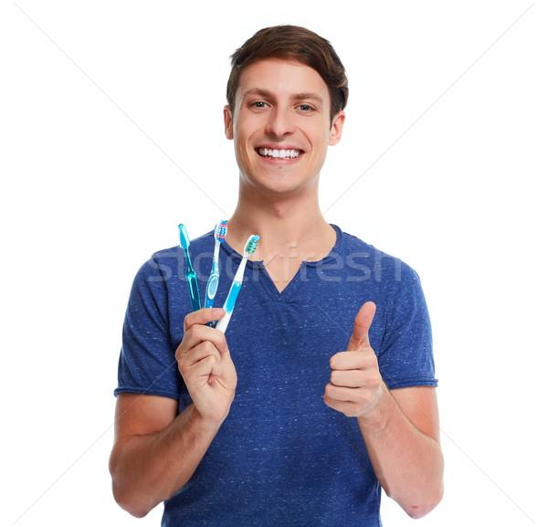 男 歯ブラシ 小さな 白人 歯の手入れ 手 ストックフォト © Kurhan