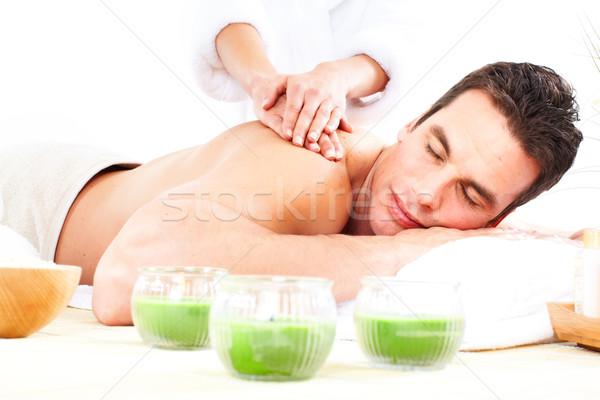 Stok fotoğraf: Spa · masaj · yakışıklı · genç · dinlenmek · adam