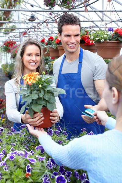 Jardinería jóvenes sonriendo vendedor florista de trabajo Foto stock © Kurhan