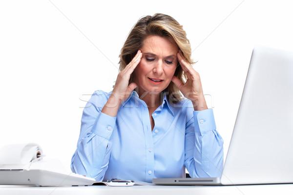 Femme d'affaires maux de tête isolé blanche femme bureau Photo stock © Kurhan