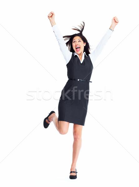 Femme d'affaires portrait heureux jeunes isolé blanche Photo stock © Kurhan