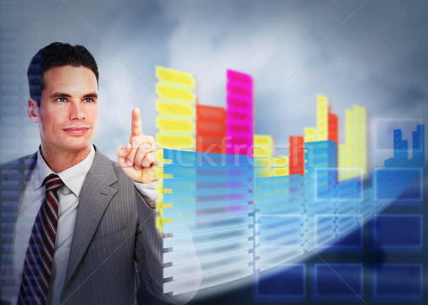 üzletember megérint holografikus képernyő technológia internet Stock fotó © Kurhan