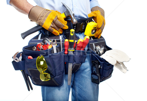 Trabajador herramienta cinturón aislado blanco hombres Foto stock © Kurhan