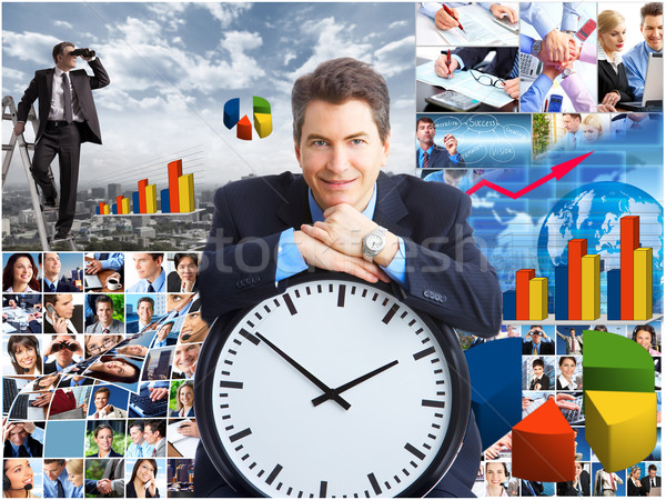Business collage zakenman spionage concurrenten verrekijker Stockfoto © Kurhan